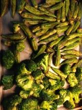 roasted broccoli and okra