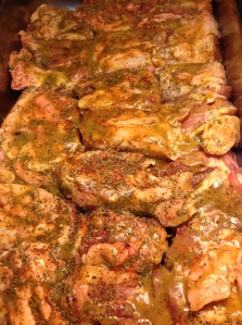chicken thighs covered in honey-mustard