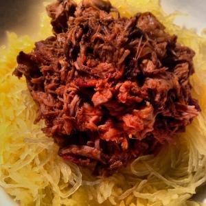 pulled pork on spaghetti squash!