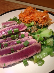 tuna sliced and served