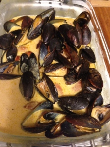 finished product - Coconut Curry Mussels