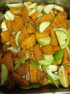 after baking potatoes until tender add apples