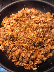 chorizo, mushroom, onion, pepper, cauliflower mixture sautéed