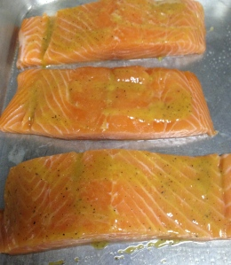 salmon brushed with honey-dijon