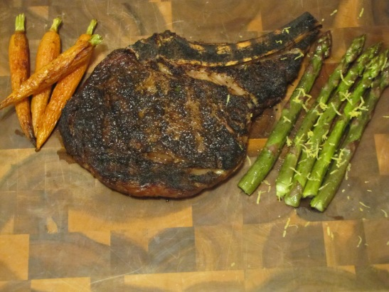 an 18oz rib-eye rubbed with this spice mix and grilled to medium rare