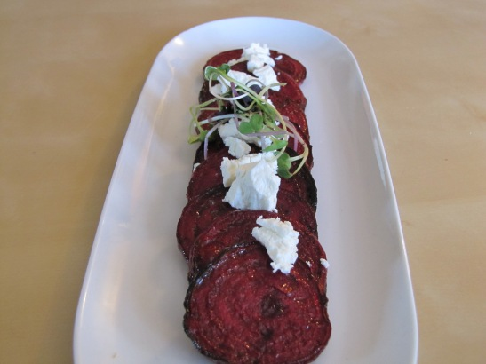 roasted beets topped with goat cheese